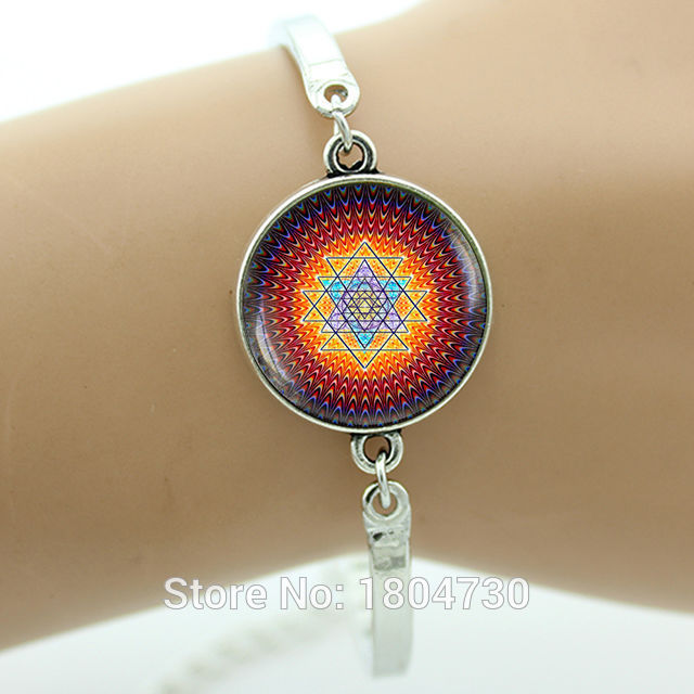 US $1 1 45% OFF India Mandala Sacred geometry Yoga bracelet Glass gem Sri  yantra Spiritual bracelet Buddhist jewelry for women wholesale MA21-in  Charm