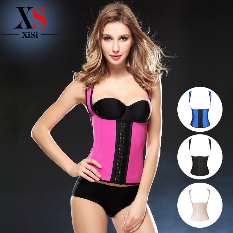 New product 2016 steel boned Rubber Latex Waist Cincher Sexy Waist Trainer   Corset   and   Bustiers     Corsets   body Shapers Vest
