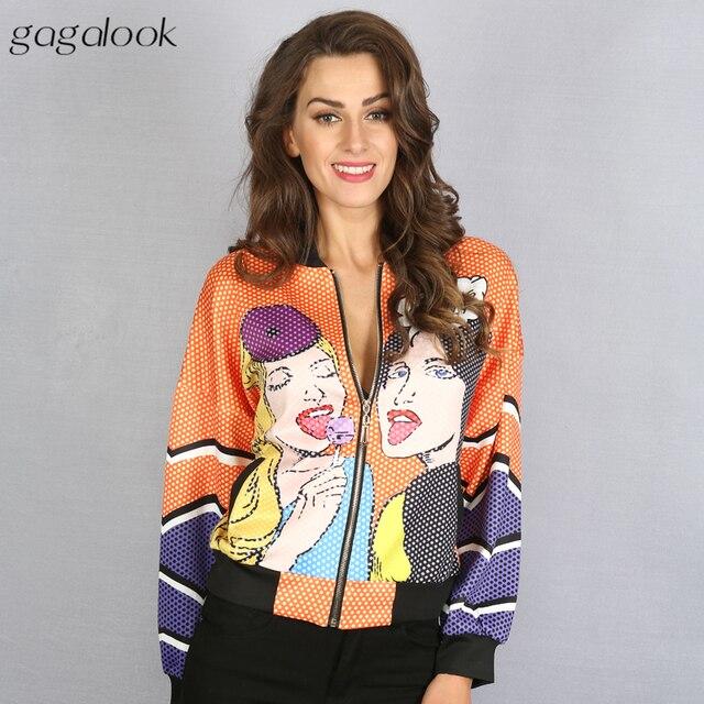 gagalook Girls Print Bomber Jacket Women Autumn Oversize Basic Ladies Jackets Outerwear HC0050