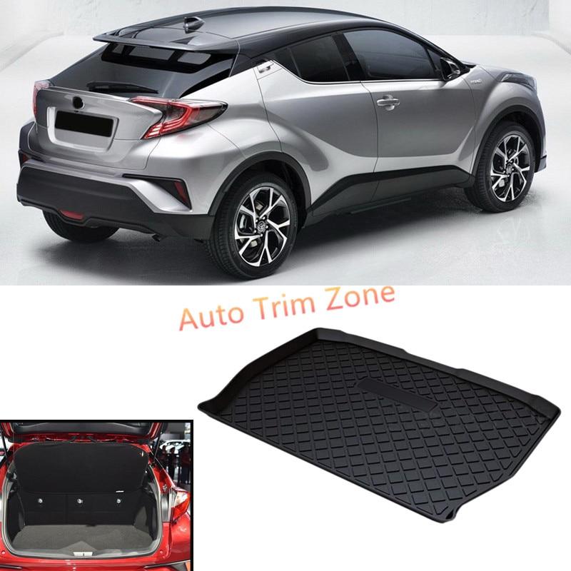 1PCS Black Inner Rubber Rear Trunk Boot Mat Carpet For Toyota C-HR CHR 2016-2017 for toyota c hr 2016 2017 stainless steel inner