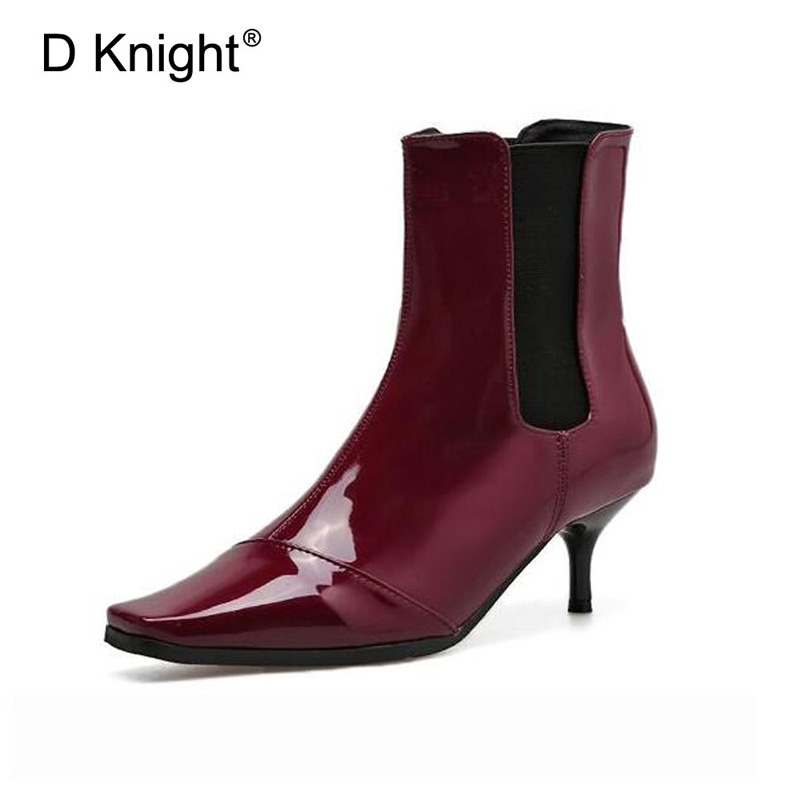 Patent Leather Women Ankle Boots Casual Platform Sexy Shoes Woman Square toe Slip On Thin High Heels 2017 Winter New Women Shoes strange heel women ankle boots genuine leather elastic booties wedge shoes woman high heels slip on women platform pumps