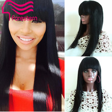 100% Virgin Brazilian Full Lace Human Hair Wigs With Bangs/Glueless Lace Front Wig 130 Density Full Lace Wig For Black Woman