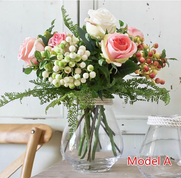 Diy como foto rosas sin jarr n de flores de seda flores - Decoracion de jarrones con flores artificiales ...