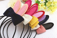 2 PIECES Cute Rabbit Ears Hairband For Girls Woolen Two Tone Knot Rabbit Type Hair Clips Hand Making Fabrics Hair Bows Hair Acc