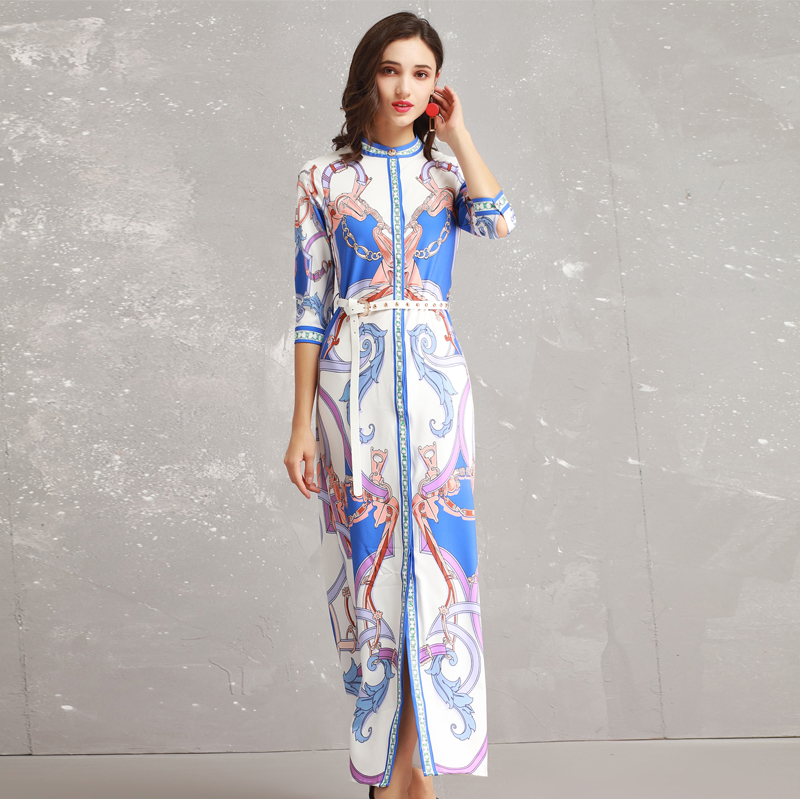 Manches Coloré D'été Robe Youe De Maxi 2019 Printemps Trois Brillait Impression Qualité Longue Mode Trimestre Designer Haute Femmes wwqzOp1