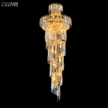 цена на Classic Long Spiral Gold or Silver Chandelier Crystal Lighting Crystals Hanging Lamp Lustre for Hotel Lobby Villa Staircase