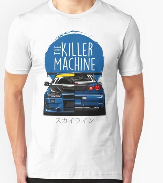 New Men T shirt Fashion Niss Skyline GTR R34 BNR34 Car Logo JDM T shirt Custom Print