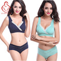 Bra+Panties Set  Breast Feeding Maternity Nursing Bra sleep bra for nursing pregnant women Breastfeeding cotton Wire free Bras