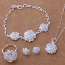 Free Shipping Promotion Silver plated Jewelry Sets Earring 141 + Necklace 301 + Ring 286 + Bracelet 032 /bojakfqa enhaneoa AS191