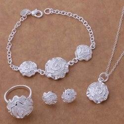 Livraison gratuite Promotion argent plaqué bijoux ensembles boucle d'oreille 141 + collier 301 + bague 286 + Bracelet 032/bojakfqa enhaneoa AS191