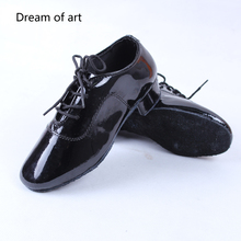 Kids PU Leather Dance Shoes Mid Heel Child Boy Latin Tango Salsa Classic Black Children Shoes