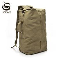 Scione Men Luggage Travel Bag Large Bucket Backpack Multifunctional Canvas Backpacks Big Travel Shoulder Bags Vintage Back Pack