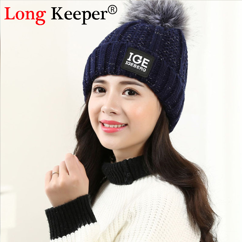 LongKeeper Fashion Skullies & Beanies Colours Gorros Acrylic Winter Hats For Women and Men Letter Knitted Cap Bone Casquette M44 skullies