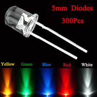 300Pcs Box 5mm LED Light Bulb LED Diodes Round Head Yellow Red Blue Green White Assortment