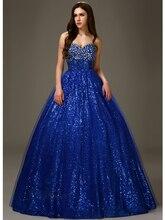 Erschwinglichen Royal Blue Langbodenlangen Sweetheart Kristalle Pailletten Tüll Ballkleid Prinzessin 2016 Partei Abschlussball-kleider Nach Maß