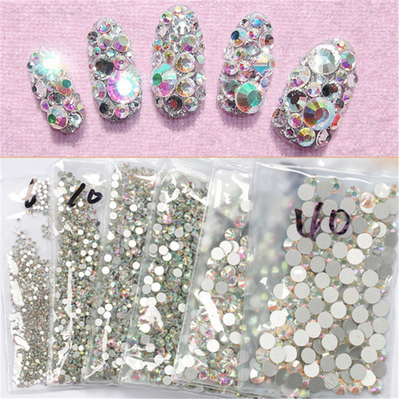 Super Shiny Glass SS3 -SS40 Crystal Clear AB On Flat Back Rhinestones For Nail Art Decorations Phone beauty diamond super shiny 5000p ss16 4mm crystal clear ab non hotfix rhinestones for 3d nail art decoration flatback rhinestones diy