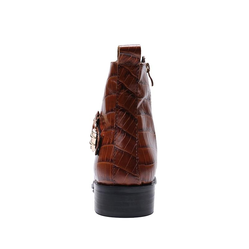 Männer Handgemachte Designer Reiten Punk Runde Leder Brogue Mann Stiefeletten Kappe Rocker Echtem Aus Brown Sl424 Martin Vintage Schuhe 71wO7x