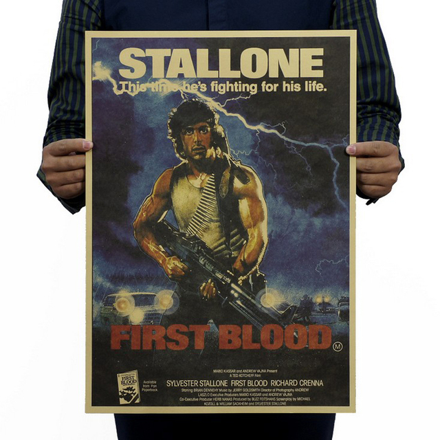 Free shipping,first blood part 1/Rambo classic movie/kraft paper/bar poster/Retro Poster/decorative painting 51x35.5cm