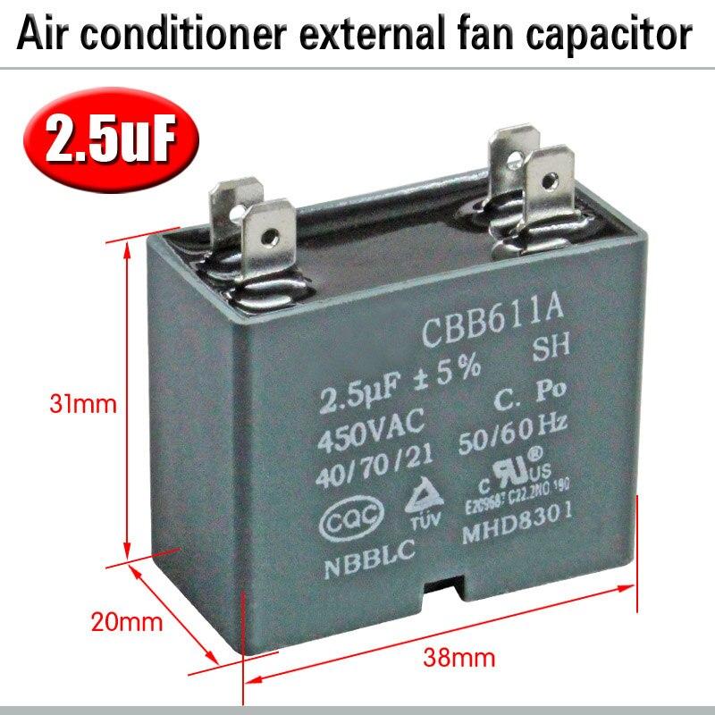 CBB61 кондиционер наружный вентилятор стартовый конденсатор с алюминиевой крышкой, 1,5/2/2,5/3/3,5/4/5/6/8 мкФ 450 вольтным и конденсатор с алюминиевой крышкой 4 вставки электромагнитный пускатель - Цвет: 2.5uF