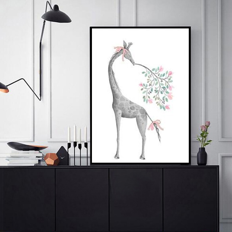 Nordic Watercolor Abstract Cartoon Painting Unframed Minimalist Cute Animal Art Poster Home Living Room Decoration Wall Pictures in Painting Calligraphy from Home Garden