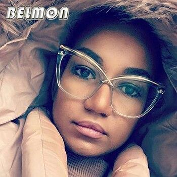 Belmon Cat Eye Eyeglasses Frame Women Computer Optical Eye Glasses Myopia Spectacle Frame For Women's Clear Lens Female RS262
