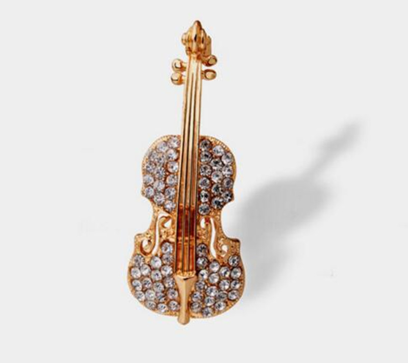 Bovvsky Fashion Gold color Guitar lapel Brooch pin Crystal Violin Scarf Brooches for Women Rhinestone Brooch wedding Brooch