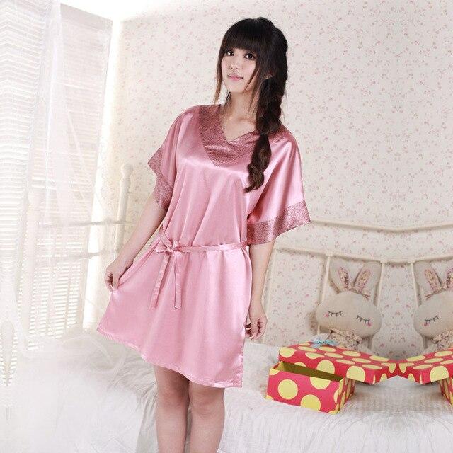 2 Colores de la Marca de Las Mujeres se Visten Sexy Batas Albornoz Para Las Mujeres V-cuello de Satén de seda Robe Sexy Pijamas del Camisón de Dormir Vestido de La Noche 8109