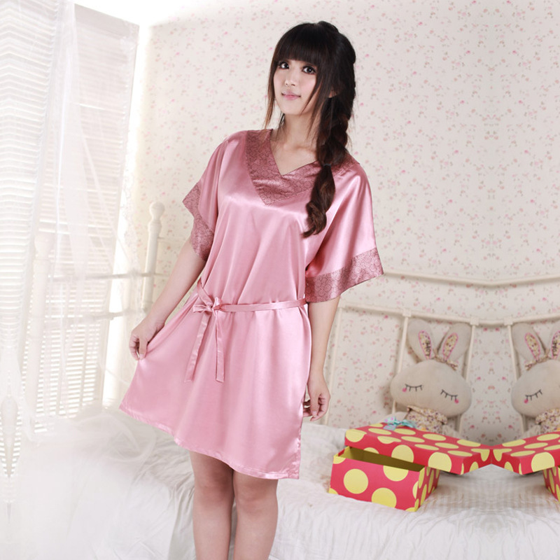2 Colors Brand Women Dress Sexy Robes Bathrobe For Women Silk Satin Robe Sexy V neck