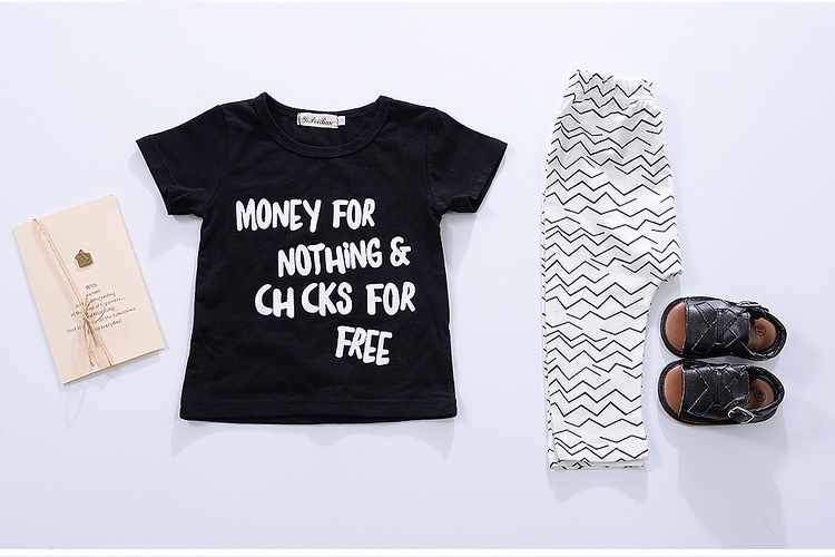 Cute summer boys girls Letter wave print casual set T-shirts and pants baby clothes Suits Childrens 2pcs suit for 12M-3T