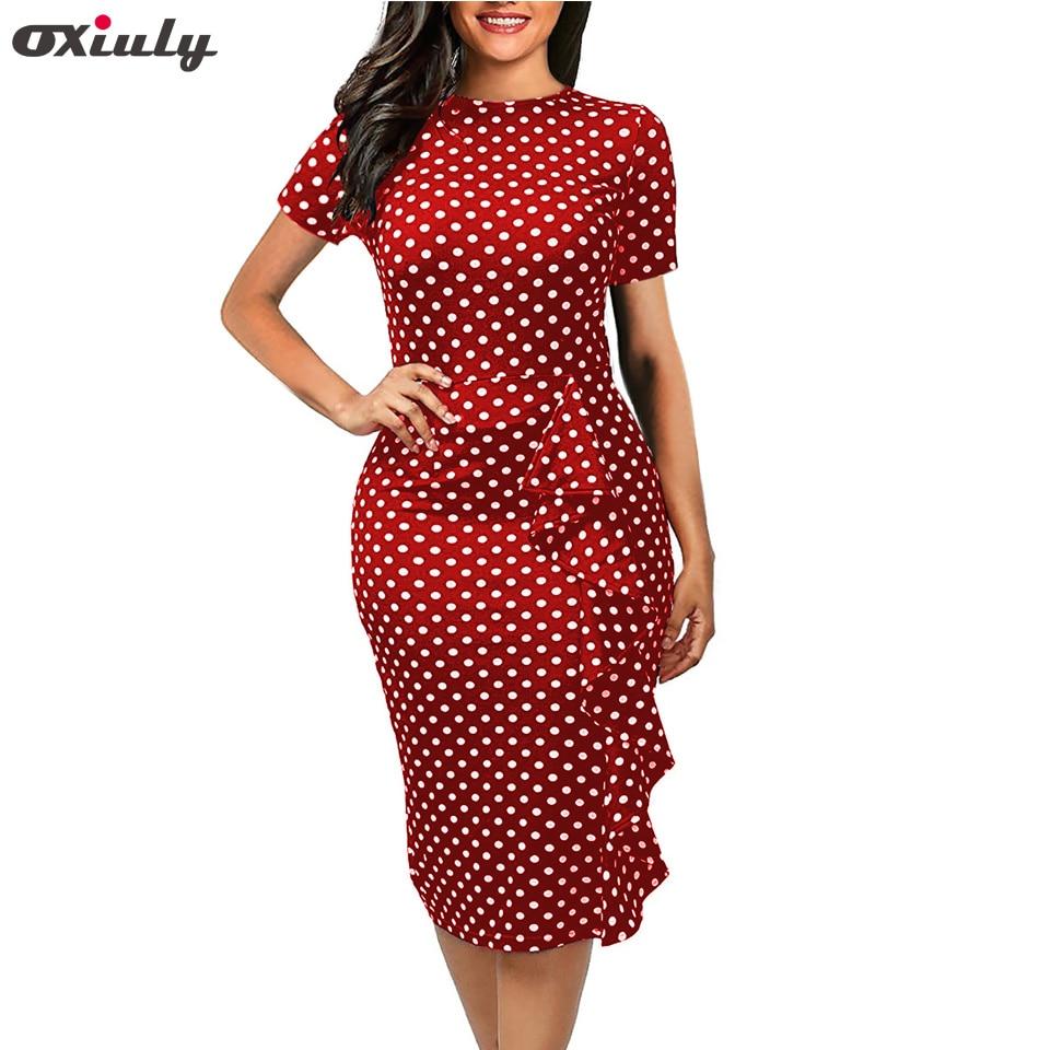 2015New vintage Dot print short sleeve puff Natural o-Neck Bow knee-length Party Dress polka dot
