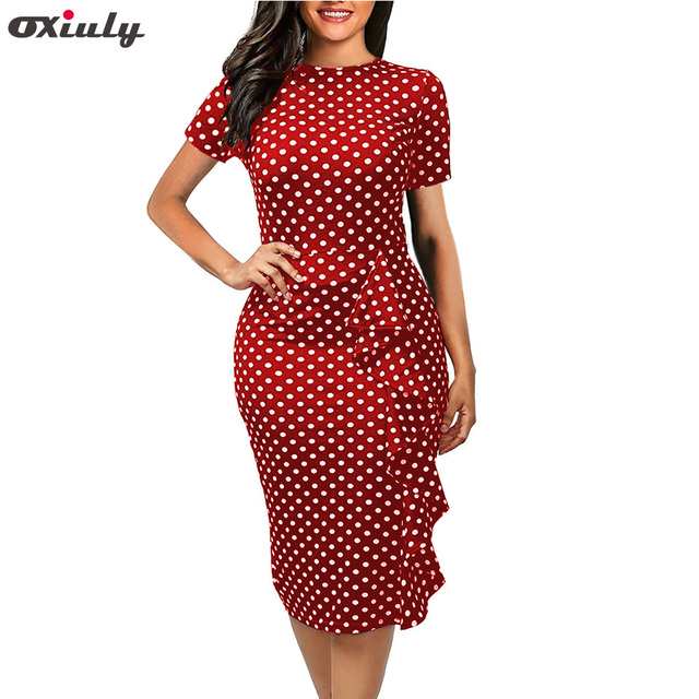 f6bdd9929d14e US $20.89 |Oxiuly 2017 New vintage Polka Dot print short sleeve puff  Natural Round Neck knee length Wear to Work Pencil Dress-in Dresses from  Women's ...