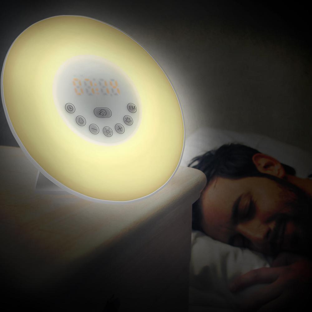 SOLLED Wake Up Light Sunrise Simulation Alarm Clock Night Light Bedside Lamp with 7 Colors Dimmable Brightness FM Radio недорого