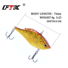 Купить с кэшбэком FTK Lifelike VIB Floating Fishing Lure 73mm 15g 6# triple Pesca Hooks  Vibration Slow Sinking Fish Wobbler Tackle Crankbait