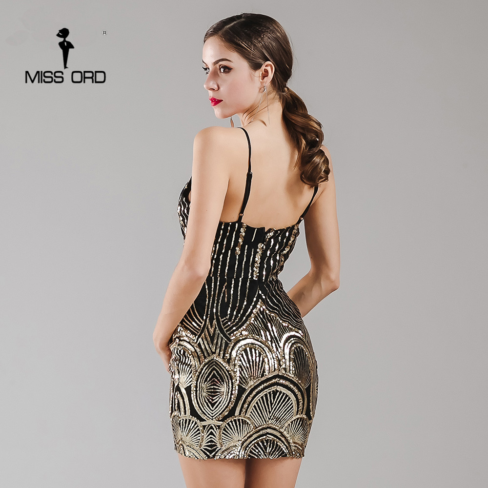 Missord 2018 Sexy sleeveless Tiefen V Retro pailletten kleid ...