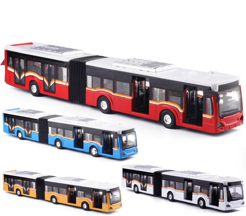 1:50 Alloy Pull Back Double Bus,high Simulation City Bus Model,toy Vehicles,metal Diecasts,flashing & Musical,free Shipping