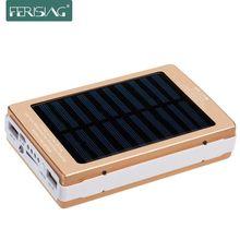 Ferising Солнечной Энергии Банк 100% Реальные 15600 мАч Dual USB Зарядное Портативный с Светом ВОДИТЬ Зарядное Устройство Металл Powerbank Солнечные Панели PB-11