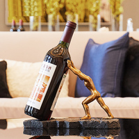 Fun Golden strong man Home Resin Wine rack Personality macho bar decoration wine holder