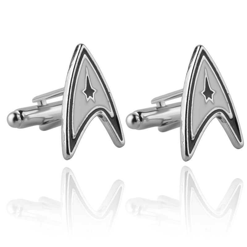 High Quality Star Trek Cufflinks New French Shirt Mens Cufflinks Inc Star Trek Starfleet Cufflinks Male Business Wedding Gifts