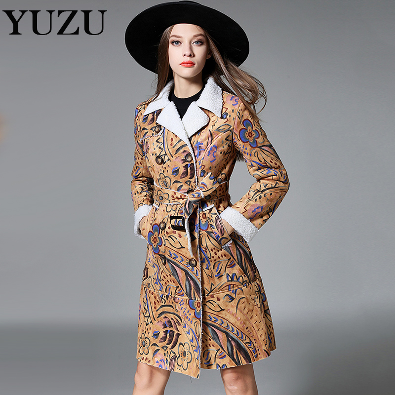 Leather   jacket Faux   Suede   lambswool coat women Fashion winter sexy print warm double-breasted long coat bow belt waist overcoat