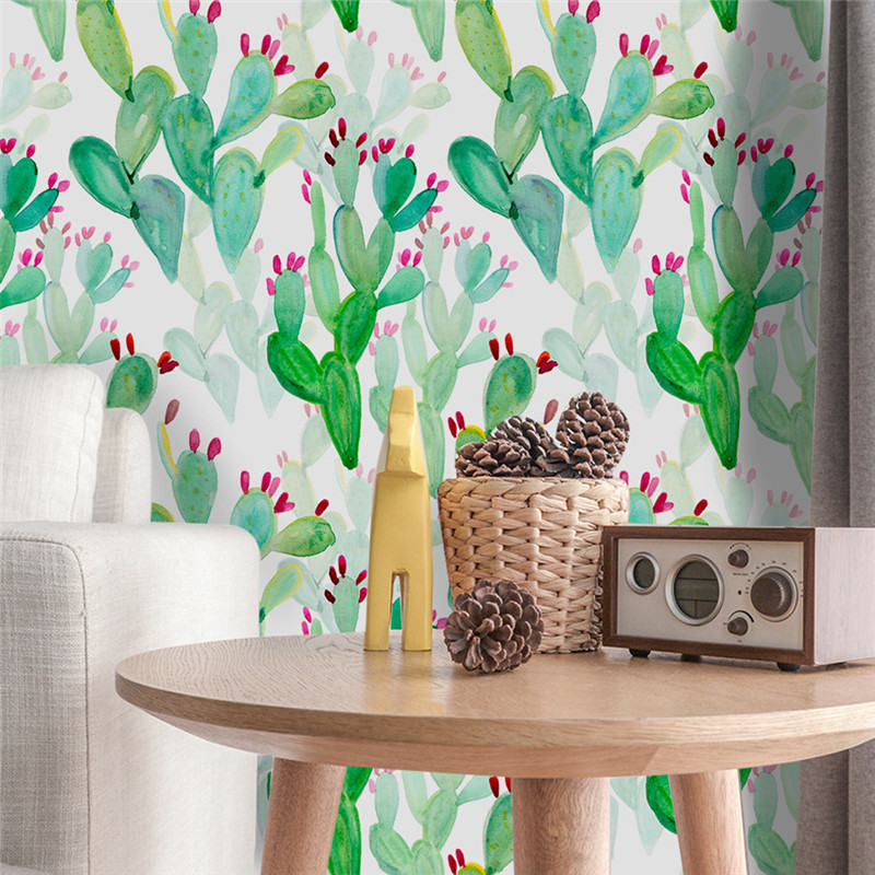 1 Roll 53x122cm DIY Cactus Wallpapers for Kids Room Minimalism Nordic Style Wallpaper Li ...