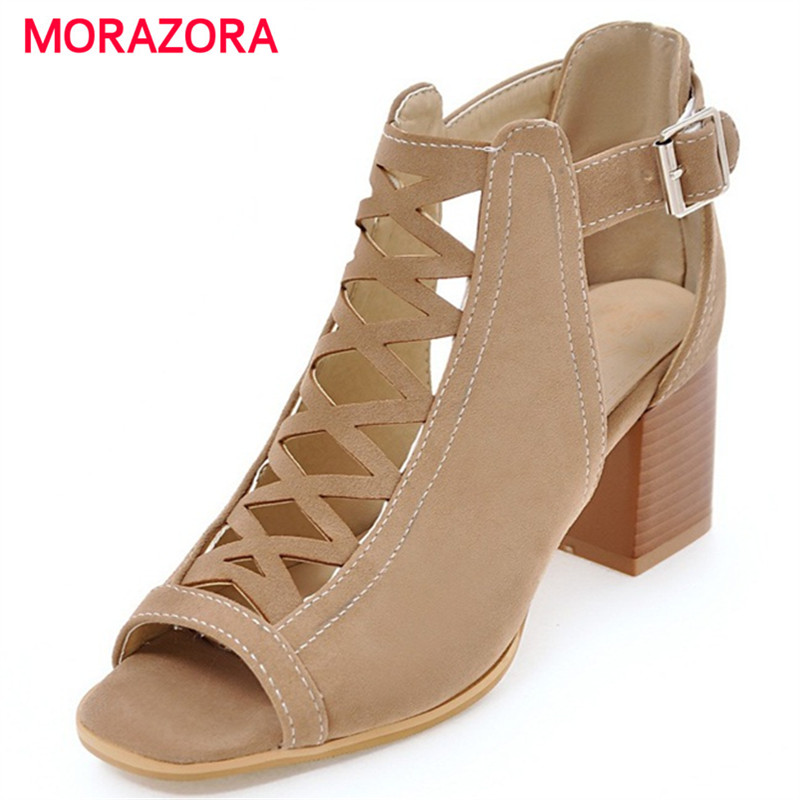 MORAZORA 2018 Hot sale summer shoes fashion punk high heels shoes woman buckle peep toe woman sandals large size 34-43 morazora 2018 new women sandals summer sweet bowknot comfortable buckle spike high heels platform shoes peep toe shoes woman