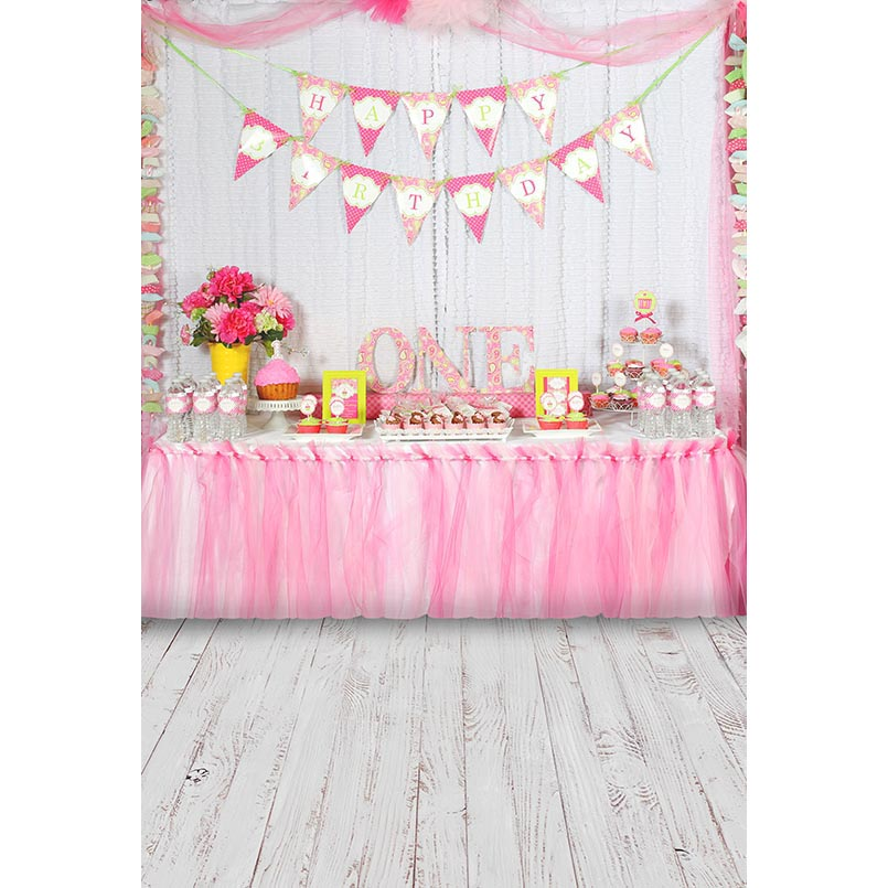 Hot Sale Childs 1st Birthday Party Photography Backdrops White Wooden Floor Pink Dessert Table Backgrounds For Photo Studio Photo Shoot Price Remains Stable Camera & Photo Background