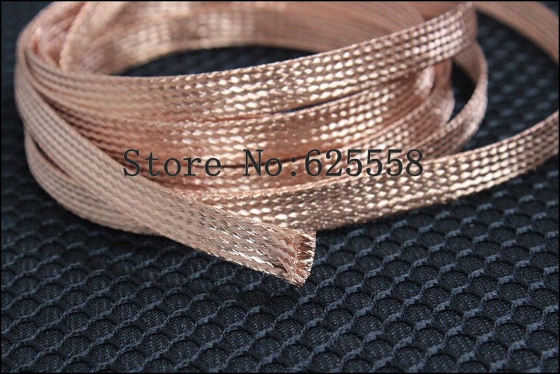 1M 3.3ft 13mm Copper Braid Sleeve Screening Tubular Cable Copper Sleeve tube  1m 15mm flat tinned copper braid sleeve screening tubular cable diy