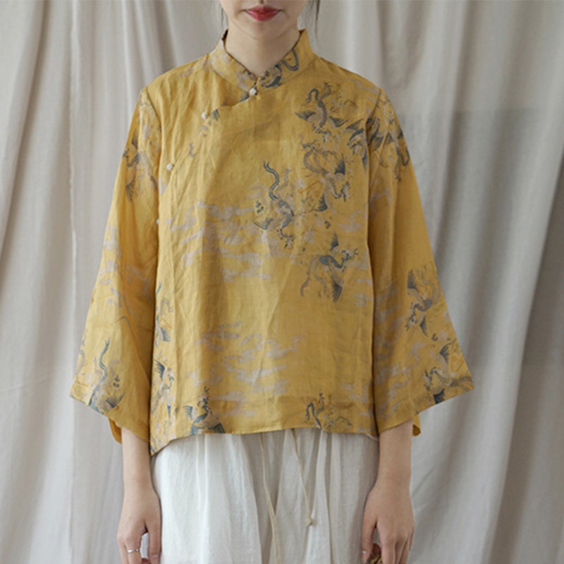 SCUWLINEN Women Tops 2019 Spring Vintage Chinese Style Print Stand Collar Jade Button Loose Ramie Shirts