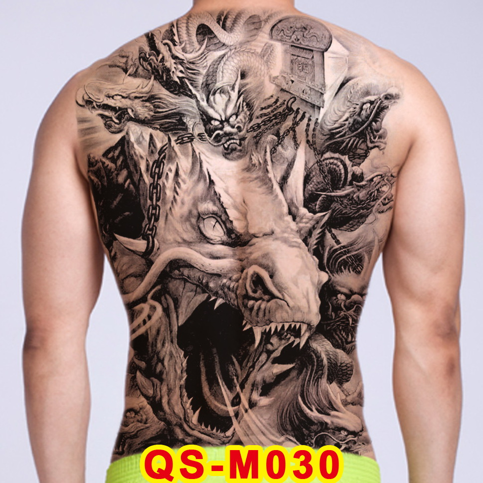 Men Temporary Tattoo Dragon Water Transfer Boy Tatoo Sexy Temporary Back Tattoos Large Waterproof Sexy Body Art Stickers Decal
