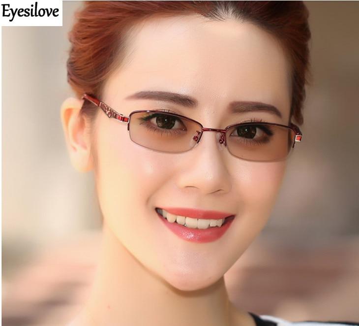 e77591b0bb93e Eyesilove women myopia photochromic glasses lady myopia Glasses myopia  sunglasses with Sensitive Transition lenses free shipping