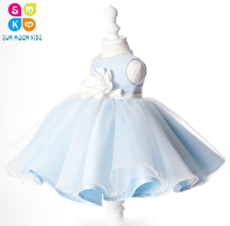 EMS DHL Free Shipping Light Blue Baby Girl Wedding Dress Girls Beading Appliques Lace Birthday Dress Elegant Flower Girl Dress dhl ems 2 lots l