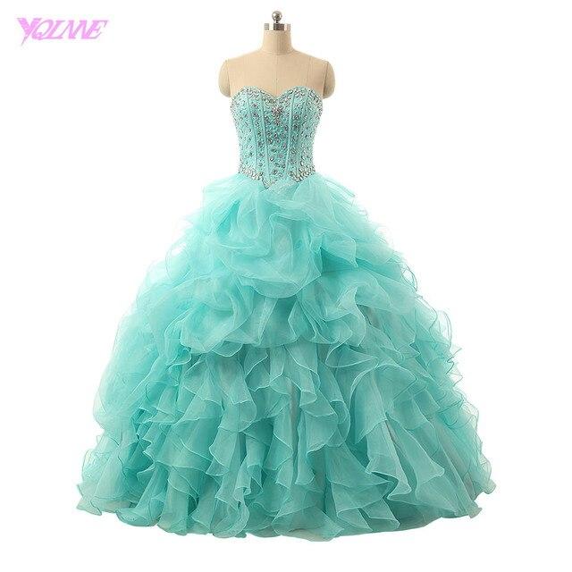 YQLNNE Mint Green Quinceanera Bonbon 16 Kleid Ballkleid Schatz ...