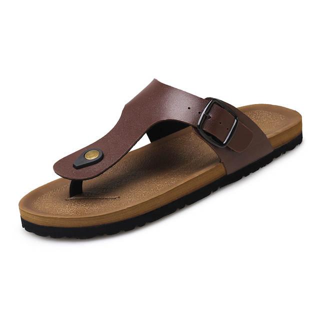 d006bfce56483 placeholder 2017 PU Leather Sandals Men Black Brown Flip Flops Casual Flat Sandals  Summer Beach Slipper Men
