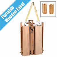 Caja de bocetos de madera de caballete francés duradero plegable portátil pintados con trípode suministros de pintura